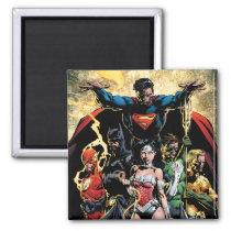 justice league new 52, jl new52, superman, wonder woman, aquaman, flash, cyborg, darkseid, batman, green lantern, dc comics, comic book covers, super heroes, Ímã com design gráfico personalizado