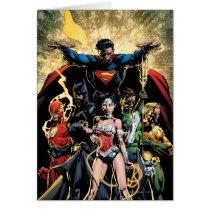 justice league new 52, jl new52, superman, wonder woman, aquaman, flash, cyborg, darkseid, batman, green lantern, dc comics, comic book covers, super heroes, Card with custom graphic design