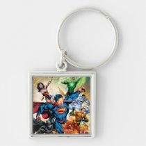 justice league new 52, jl new52, superman, wonder woman, aquaman, flash, cyborg, darkseid, batman, green lantern, dc comics, comic book covers, super heroes, Keychain with custom graphic design