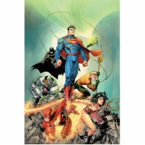 justice league new 52, jl new52, superman, wonder woman, aquaman, flash, cyborg, darkseid, batman, green lantern, dc comics, comic book covers, super heroes, Photo Sculpture with custom graphic design