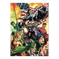 justice league new 52, jl new52, superman, wonder woman, aquaman, flash, cyborg, darkseid, batman, green lantern, dc comics, comic book covers, super heroes, Invitation with custom graphic design