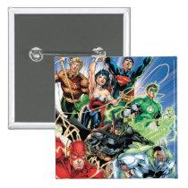the new 52, new 52, dc comics, comics, justice league, 1, justice league number 1, justice league no. 1, Button with custom graphic design