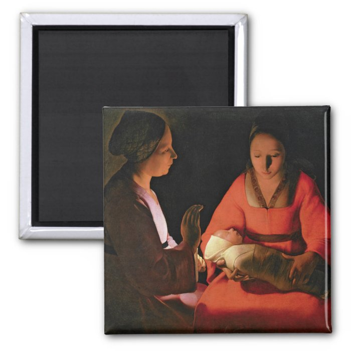 The New Born Child, late 1640s 2 Inch Square Magnet