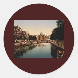The new market and bourse Amsterdam Classic Round Sticker