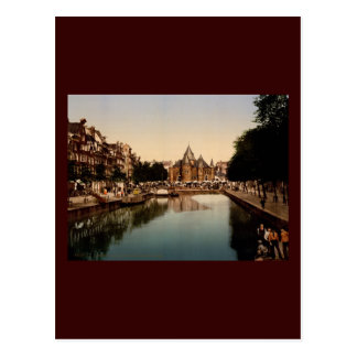 The new market and bourse Amsterdam Post Card