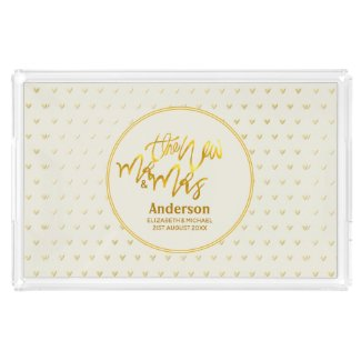 The New Mr and Mrs (name,date) Wedding Gold Hearts Acrylic Tray