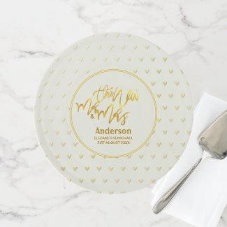 The New Mr and Mrs (name,date) Wedding Gold Hearts Cake Stand