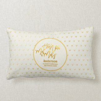 The New Mr and Mrs (name,date) Wedding Gold Hearts Lumbar Pillow