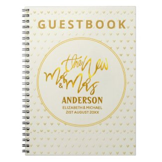 The New Mr and Mrs (name,date) Wedding Gold Hearts Notebook
