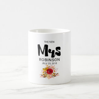 The New Mrs -  Floral Watercolor Bouquet Wedding Coffee Mug