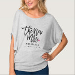 "The New Mrs. (Name) Est. Your Wedding Year T-Shirt<br><div class=""desc"">Let the world know that you're proud to be the new Mrs. (name) in this modern and stylish handwritten script typography design.</div>"