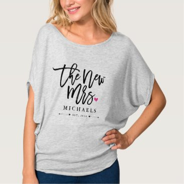 PinkMoonDesigns The New Mrs. (Name) Est. Your Wedding Year T-Shirt