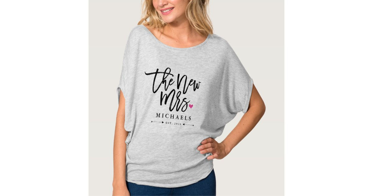 The New Mrs. (Name) Est. Your Wedding Year T-Shirt   Zazzle.com