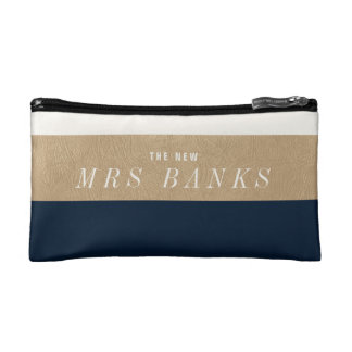 The New Mrs. Navy Blue Makeup Bags