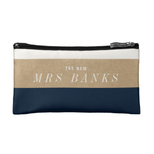 The New Mrs. Navy Blue Makeup Bag at Zazzle