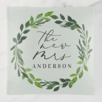 The new Mrs watercolor foliage wreath. Trinket Trays