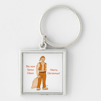 The new Santa Claus - Merry Christmas! Silver-Colored Square Keychain