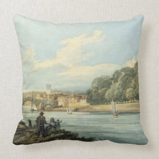 The New Walk, York, c.1798 (pencil and w/c on pape Throw Pillow