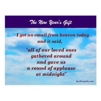 The New Year's Gift - A Message from Heaven Postcard