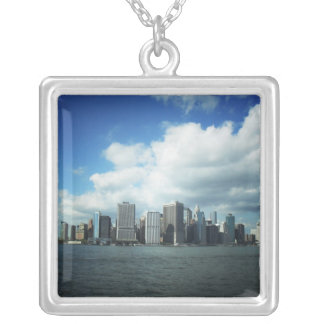The New York City Skyline, A River View Silver Plated Necklace
