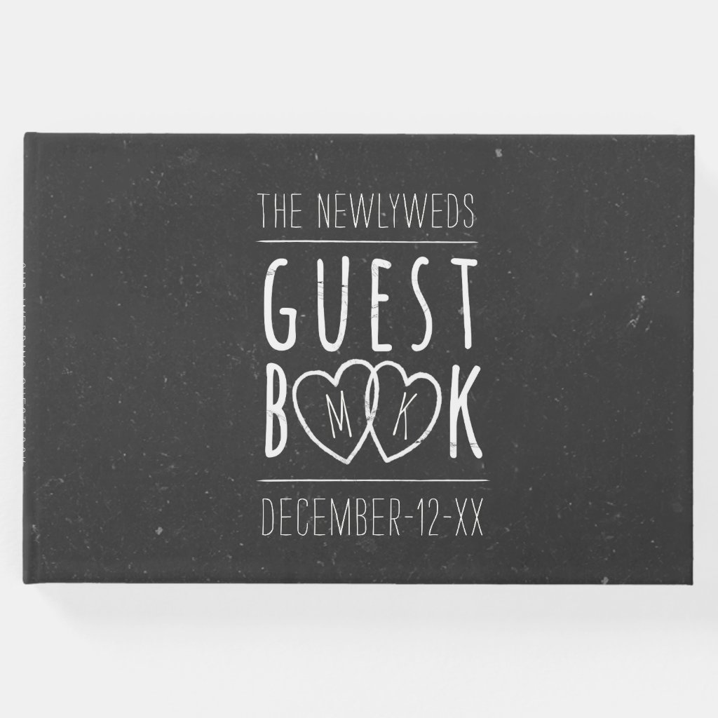 The Newlyweds Modern Chalkboard Wedding Guest Book
