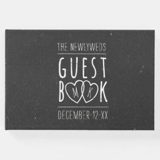 The Newlyweds Modern Chalkboard Wedding Guest Book