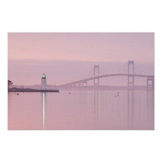 The Newport Bridge and Goat Island Lighthouse Poster