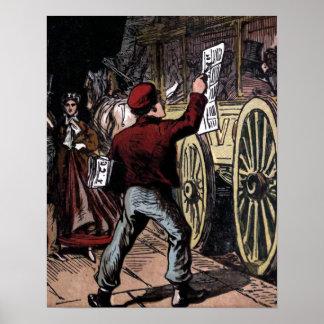 """""""The Newspaper Boy"""" Vintage Illustration Poster"""