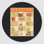 The nickel and dime store classic round sticker