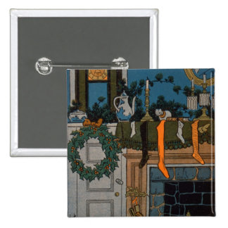 The Night Before Christmas by Denlow, 1903 (colour 2 Inch Square Button