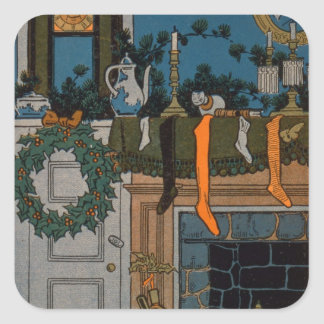 The Night Before Christmas by Denlow, 1903 (colour Square Sticker