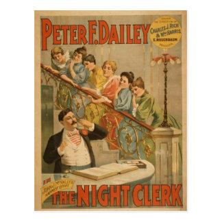 The Night Clerk Vintage Theater Postcard