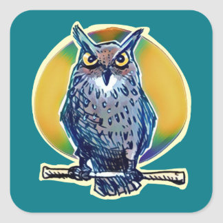 the night owl top of the stick cartoon square sticker