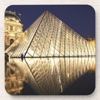 The night view of the glass Pyramid of Musee du Beverage Coaster