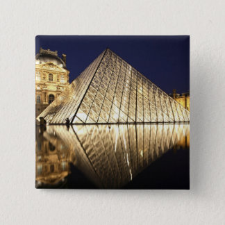 The night view of the glass Pyramid of Musee du Button