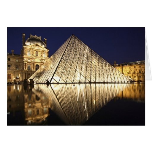 The night view of the glass Pyramid of Musee du Card