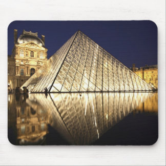 The night view of the glass Pyramid of Musee du Mouse Pad