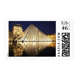 The night view of the glass Pyramid of Musee du Stamp