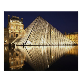 The night view of the glass Pyramid of Musee du Poster