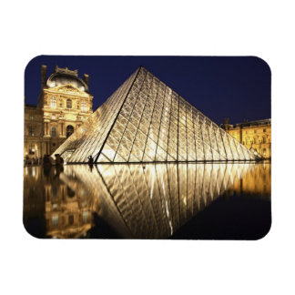 The night view of the glass Pyramid of Musee du Flexible Magnets