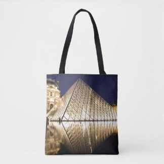 The night view of the glass Pyramid of Musee du Tote Bag