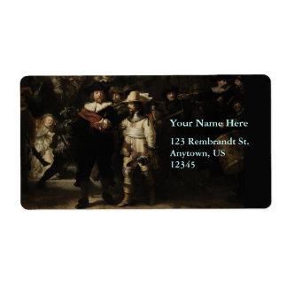 The Night Watch by Rembrandt van Rijn Label