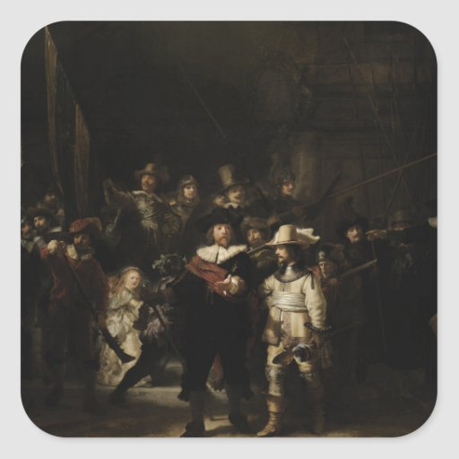 The Night Watch by Rembrandt van Rijn Square Sticker