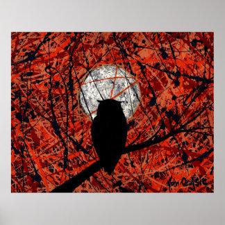 THE NIGHTLY VIGIL (owl / moon art) (large) ~ Poster