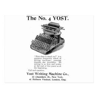 The No. 4 Yost Writing Machine Postcard