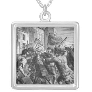 The 'No Popery' rioters attacking Square Pendant Necklace