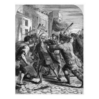 The 'No Popery' rioters attacking Postcard