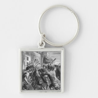 The 'No Popery' rioters attacking Silver-Colored Square Keychain