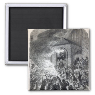 The 'No Popery' rioters burning the prison 2 Inch Square Magnet