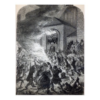 The 'No Popery' rioters burning the prison Postcard